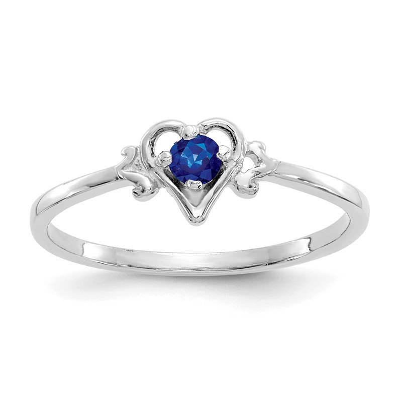 Quality Gold 14K White Gold Sapphire Birthstone Heart Ring