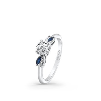 Floral Leaf Blue Sapphire Diamond Engagement Ring
