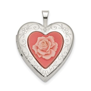 Sterling Silver 20mm Pink Resin Rose Cameo Heart Locket