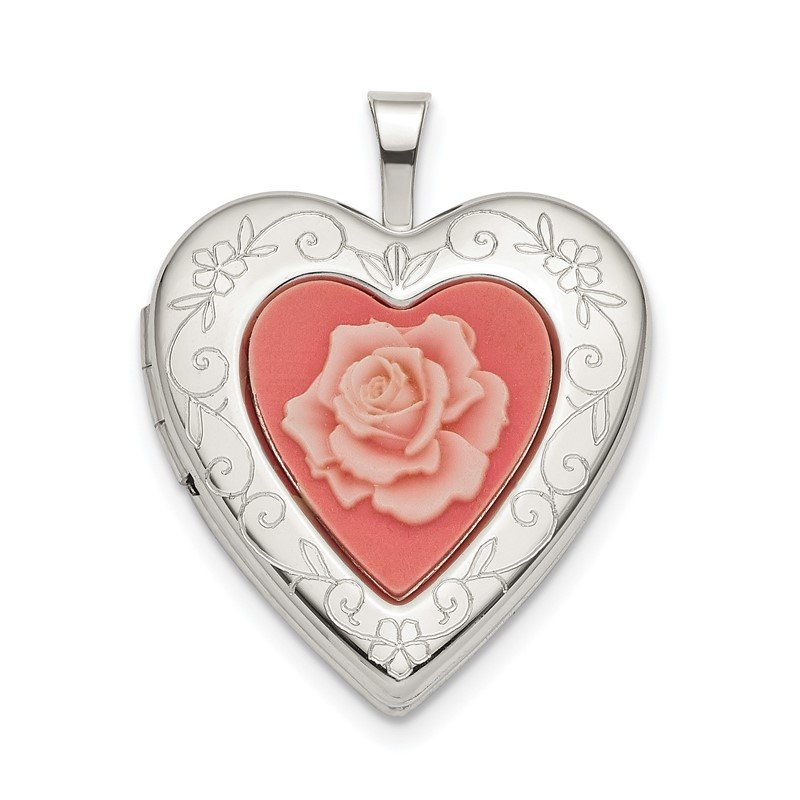 Quality Gold Sterling Silver 20mm Pink Resin Rose Cameo Heart Locket