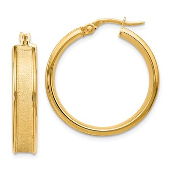 Leslies 14k Polished and Satin Hinged Hoop Earrings