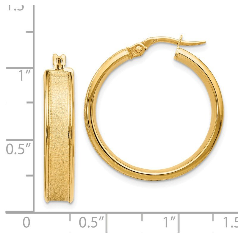 Leslie's Leslies 14k Polished and Satin Hinged Hoop Earrings