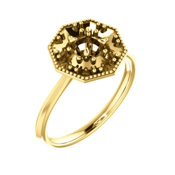 18K Yellow 4.4 mm Round Halo-Style Engagement Ring Mounting