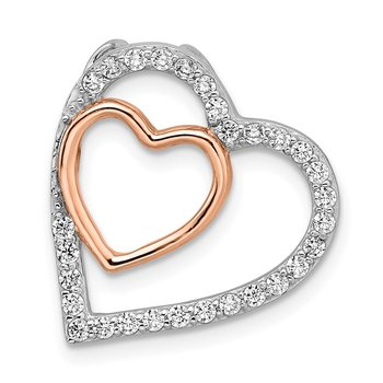 Sterling Silver Rhodium and Rose-tone w/CZ Heart Chain Slide
