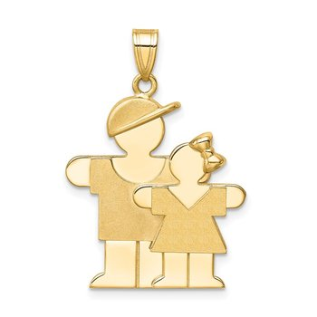 14k Big Boy and Little Girl Engravable Charm