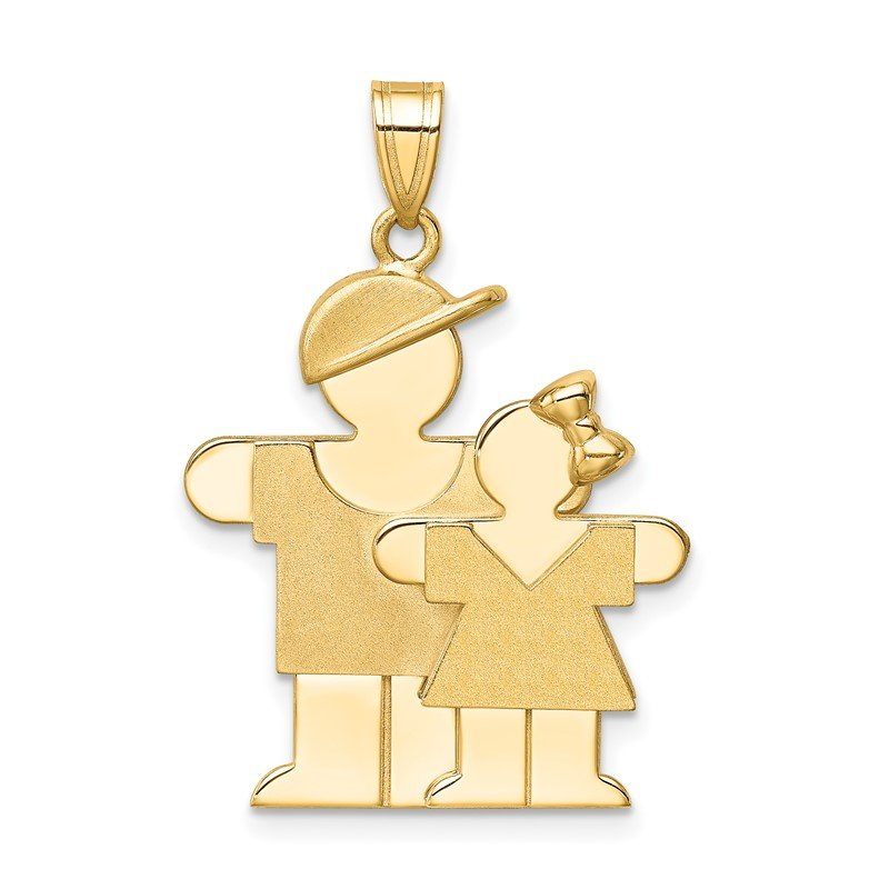 Lester Martin Online Collection 14k Big Boy and Little Girl Engravable Charm
