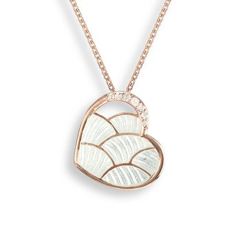 White Heart Necklace.Rose Gold Plated Sterling Silver-White Sapphire