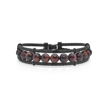 Large Black Cable & Tiger Eye Bracelet