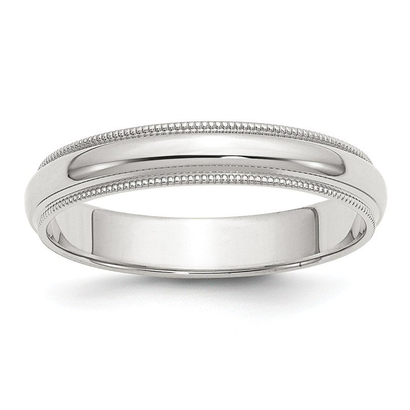 Quality Gold Sterling Silver 4mm Half Round Milgrain Band