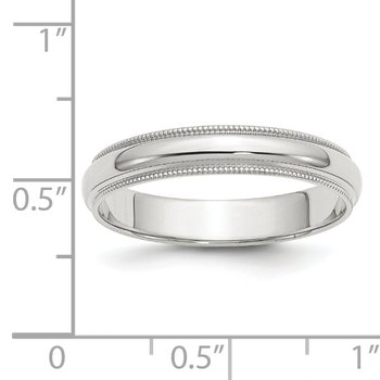 Sterling Silver 4mm Half Round Milgrain Band