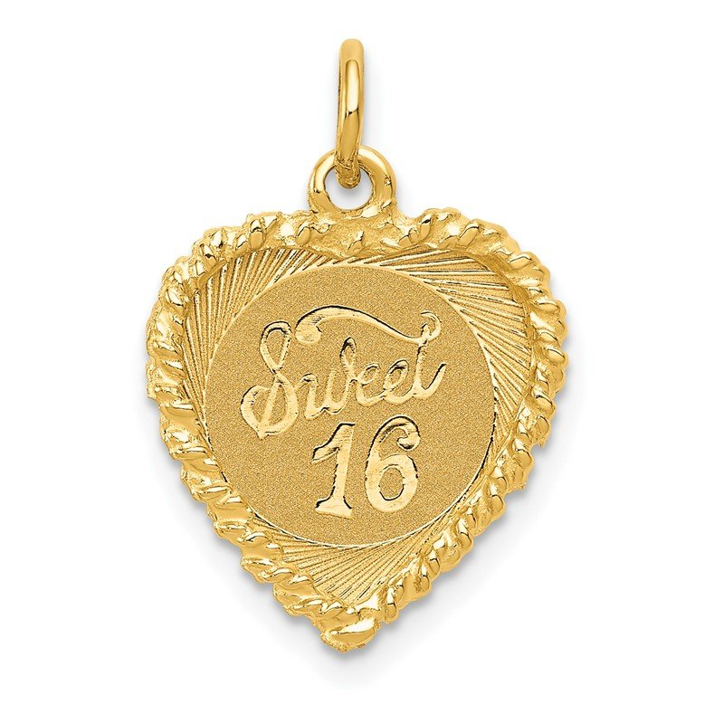 Quality Gold 14K SWEET Sixteen Heart Charm