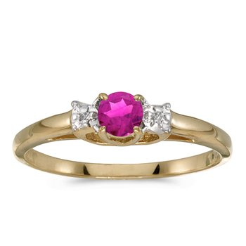 10k Yellow Gold Round Pink Topaz And Diamond Ring