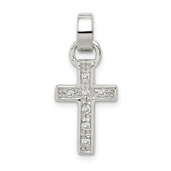Sterling Silver Rhodium-plated CZ Latin Cross Pendant