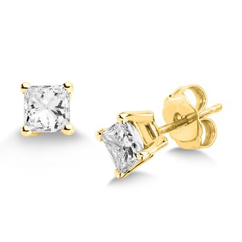 Four Prong Princess cut Diamond Studs in 14k yellow Gold Screw-back posts (3/8ct. tw.)