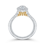 Carizza 14K Two-Tone Gold Marquise Diamond Halo Vintage Engagement Ring with Split Shank (Semi-Mount)
