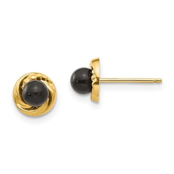 14k Madi K Onyx w/Gold Wreath Earrings