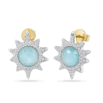 14K SUN EARRINGS WITH 88 DIAMONDS 0.36CT, CRYSTAL 1.80CT & BLUE TOPAZ  0.80CT STARFISH 17MM BY 14.5MM