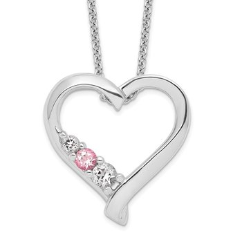 Sterling Silver Survivor Collection Clear/Pink Swarovski Topaz Jessica Neck