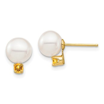 14K 7-7.5mm White Round Freshwater Cultured Pearl Citrine Post Earrings