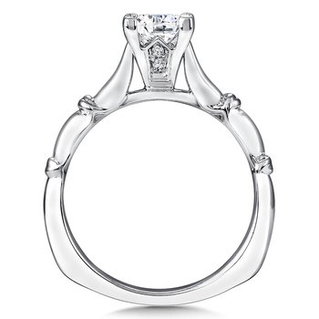 Solitaire mounting .02 tw., 1 ct. Princess center.