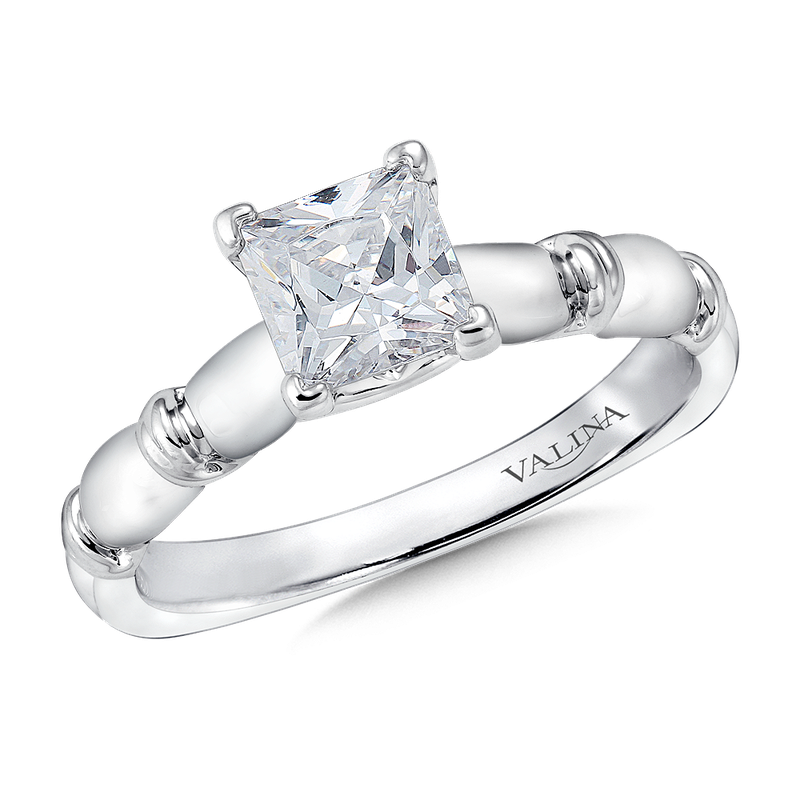 Valina Bridals Solitaire mounting .02 tw., 1 ct. Princess center.