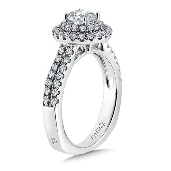 Luxury Collection Double Round Halo Engagement Ring with Side Stones in 14K White Gold (3/4ct. tw.)