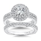 Caro74 Luxury Collection Double Round Halo Engagement Ring with Side Stones in 14K White Gold (3/4ct. tw.)