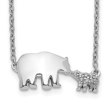 14k White Gold Diamond Mother & Baby Bear Necklace