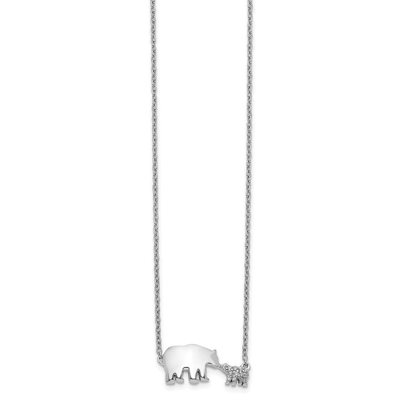 Quality Gold 14k White Gold Diamond Mother & Baby Bear Necklace