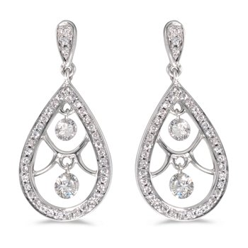 14K White Gold .60 ct Diamond Dashing Diamonds Earrings