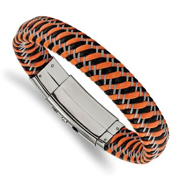 Stainless Steel Polished Black & Orange Leather Adj 7.75-8.25in Bracelet