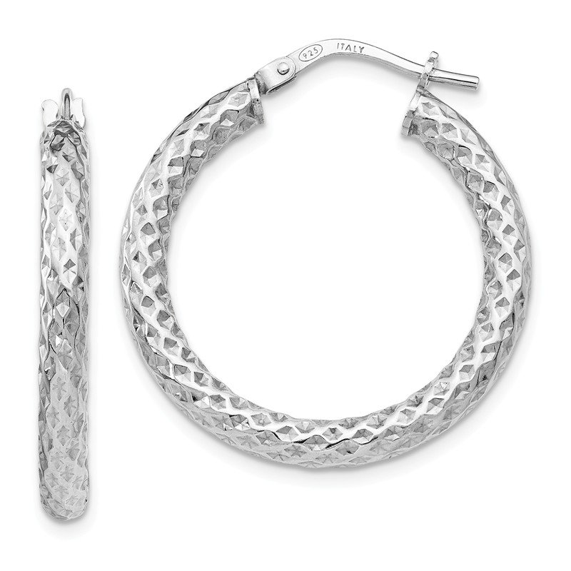 Leslie's Leslie's Sterling Silver Polished & Textured Hinged Hoop Earrings