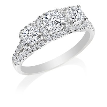 Three-Stone Halo Ideal Cushion Diamond Engagement Ring
