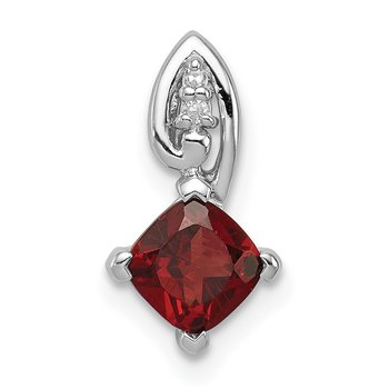 Sterling Silver Rhodium Plated Diamond & Garnet Square Pendant