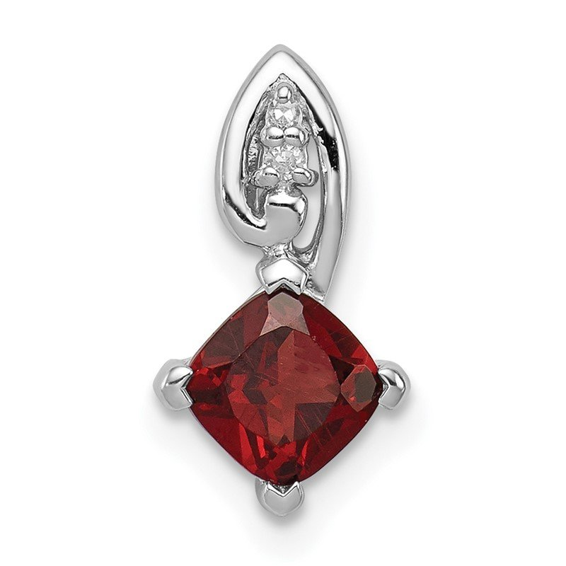 Quality Gold Sterling Silver Rhodium Plated Diamond & Garnet Square Pendant