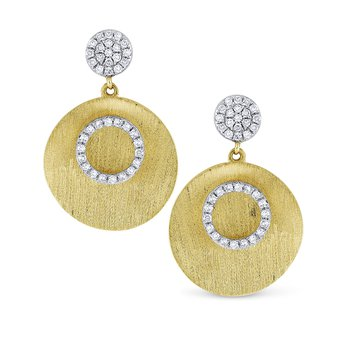 Brushed Gold and Diamond Disc Earrings