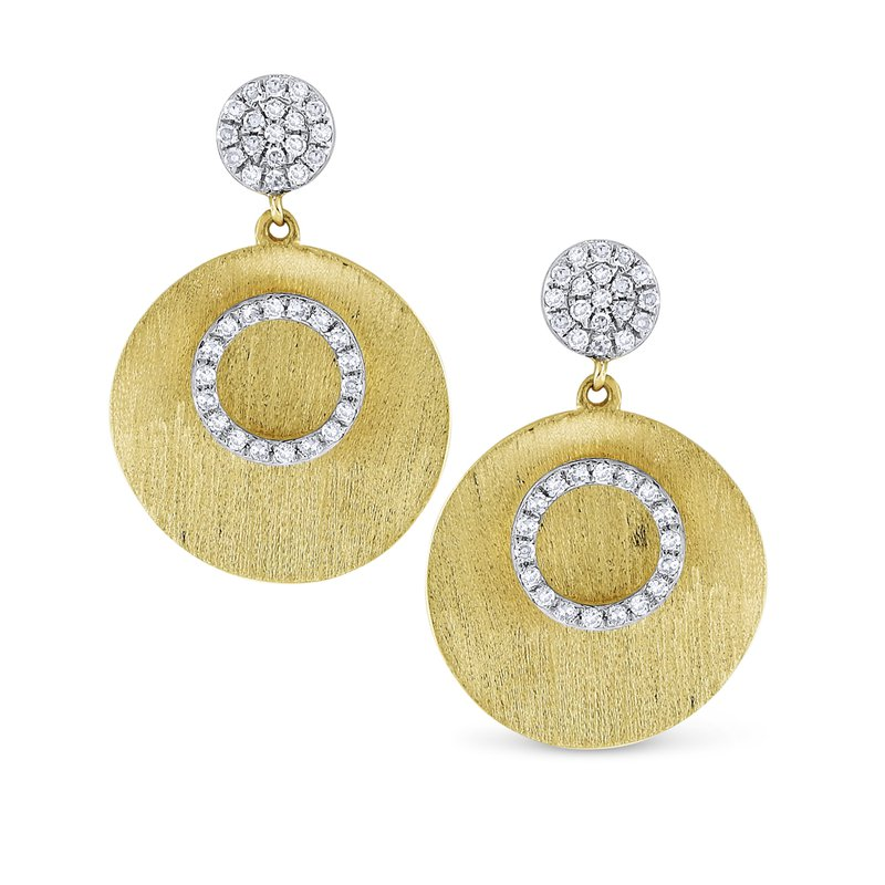 KC Designs Brushed Gold and Diamond Disc Earrings