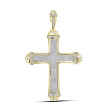 10kt Yellow Gold Mens Round Pave-set Diamond Cross Crucifix Charm Pendant 1-1/2 Cttw