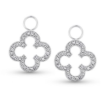 Diamond Clover Earring Charms in 14k White Gold with 72 Diamonds weighing .32ct tw.