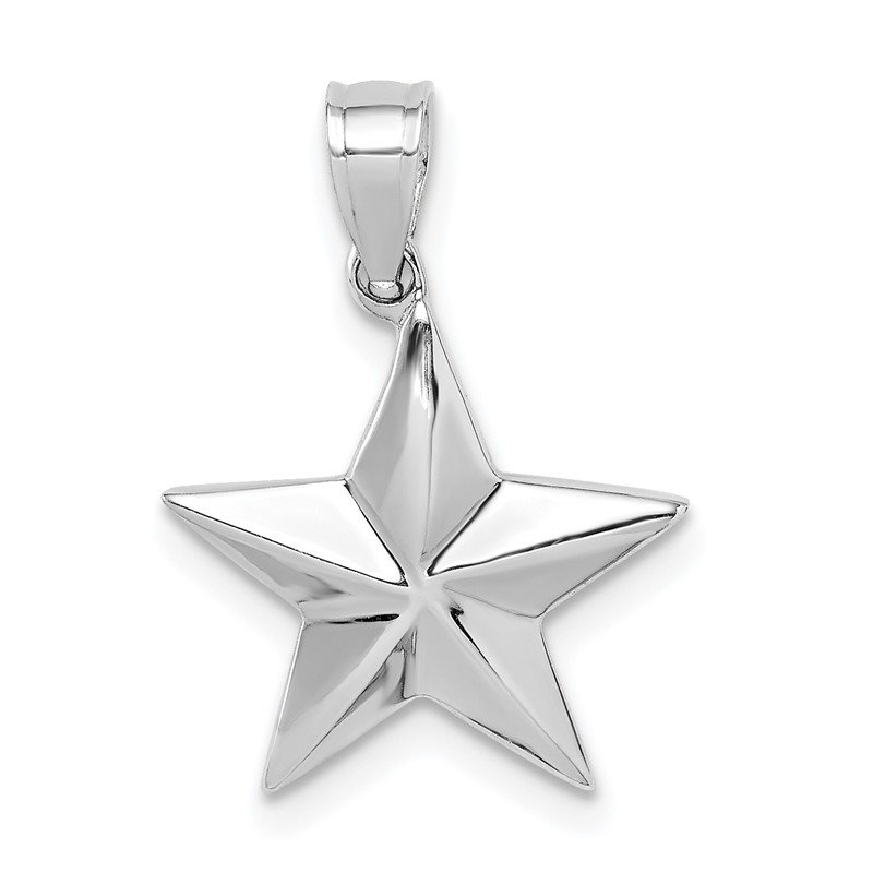 Quality Gold 14K White Polished Star Pendant