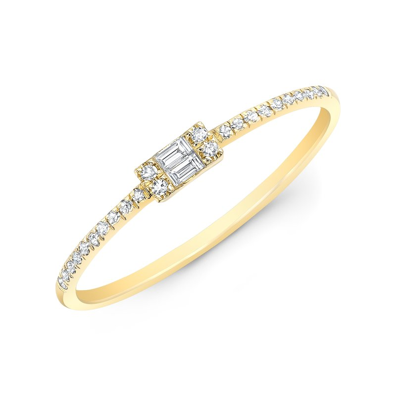 Yellow Gold Baguette Stackable Band