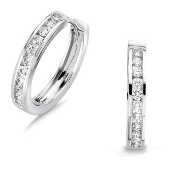 Channel set Diamond Hoops in 14k White Gold (1/4 ct. tw.) GH/SI1-SI2