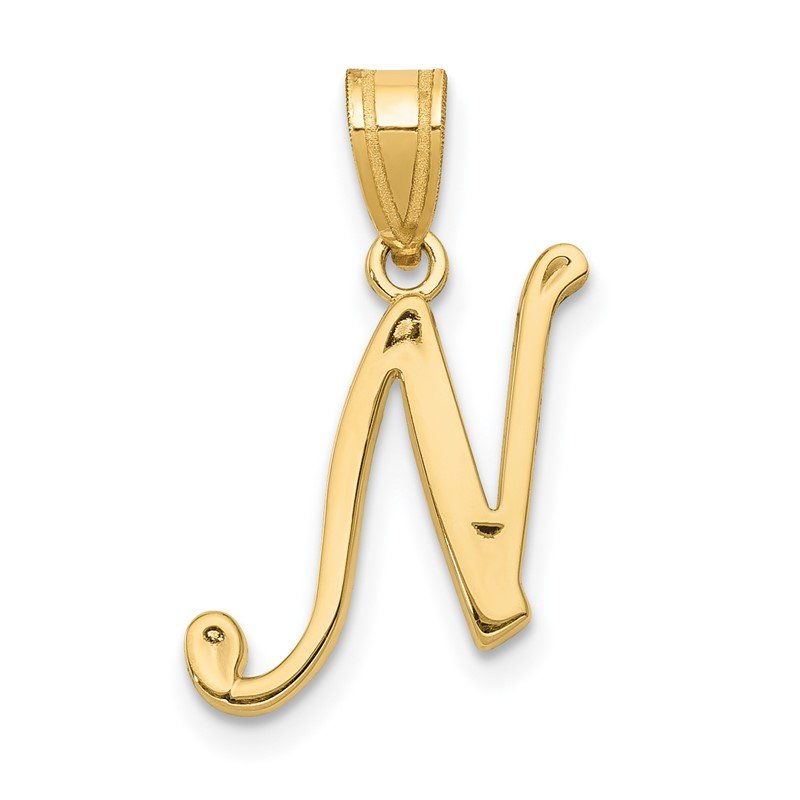 Quality Gold 14KY Script Letter N Initial Pendant