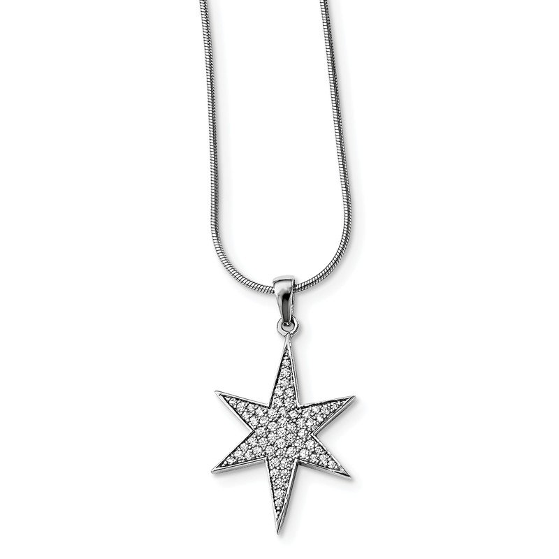 Quality Gold Sterling Silver CZ Brilliant Embers Star Necklace
