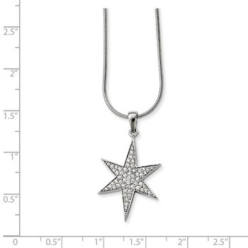 Sterling Silver CZ Brilliant Embers Star Necklace