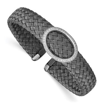 Leslies Sterling Silver CZ Black Woven Flexible Cuff
