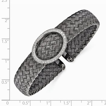 Leslie's Sterling Silver CZ Black Woven Flexible Cuff