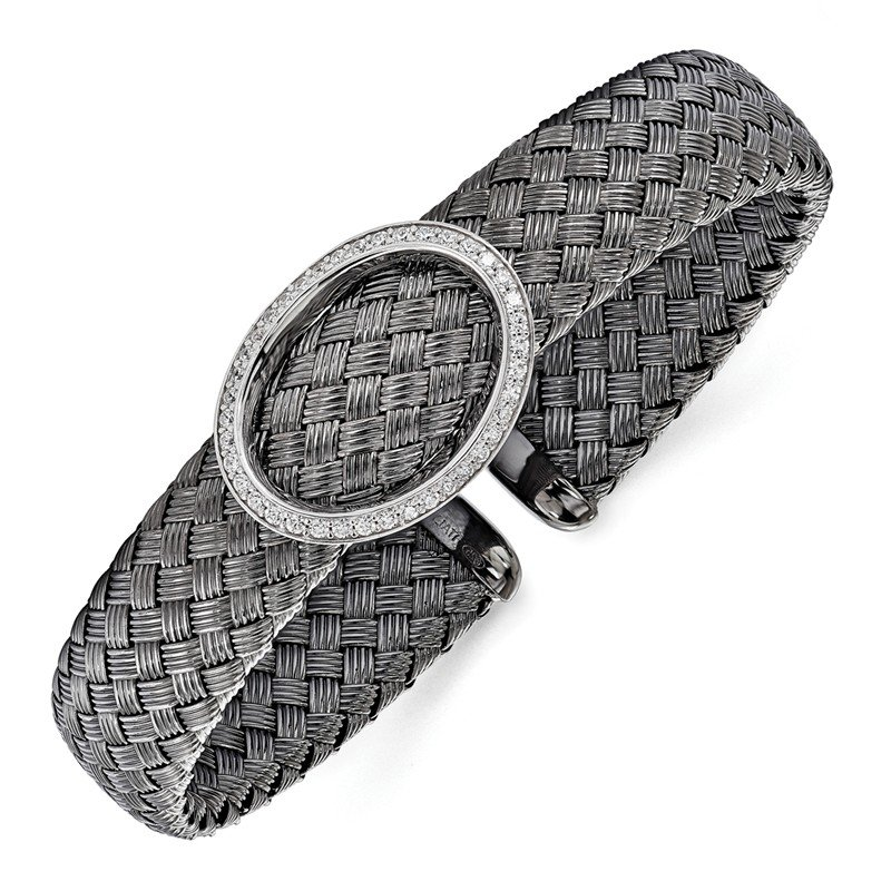 Leslie's Leslie's Sterling Silver CZ Black Woven Flexible Cuff