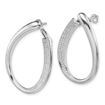 Sterling Silver RH-plated CZ Pave Front and Back Oval Hoop Earrings