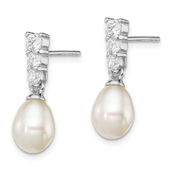 Sterling Silver Rh-plated 7-8mm White FWC Pearl CZ Post Dangle Earrings